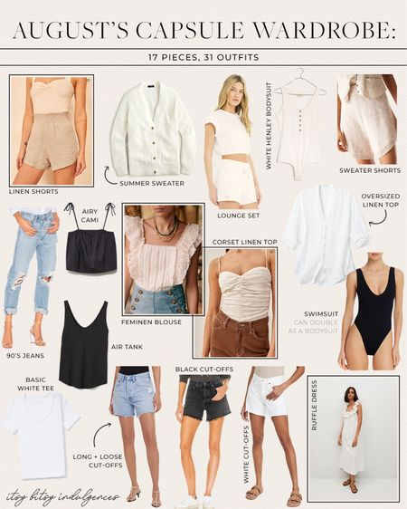 August's capsule wardrobe pieces… on the blog I take all 16 pieces and give you 31 outfits for the month (www.itsybitsyindulgences.com) //   #LTKstyletip