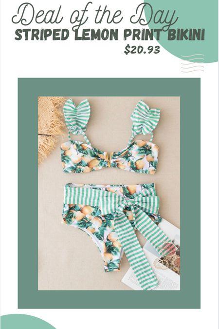 Striped lemon print bikini #ltkunder25 #LTKsalealert #LTKunder50 #LTKstyletip #ltkswim #swimsuit http://liketk.it/3k68x #liketkit @liketoknow.it