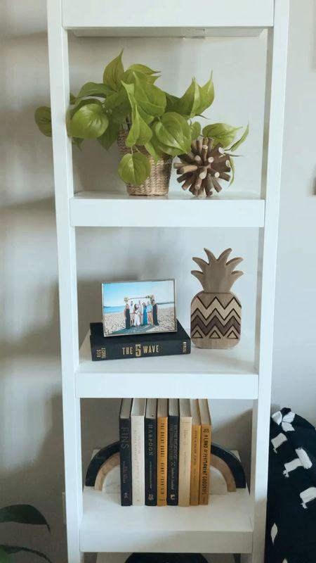 Small bookcase decor! Bookshelf decor on a crate and barrel ladder bookcase  #LTKhome