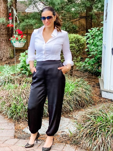 I'm loving these satin jogger pants! They are great for the office as well as going out. I wore them to work the other day and they were so comfortable! They are currently on sale and also come in khaki.   What are your favorite day to night looks?   http://liketk.it/3hacv #liketkit @liketoknow.it #LTKunder100 #LTKstyletip #LTKsalealert Shop my daily looks by following me on the LIKEtoKNOW.it shopping app