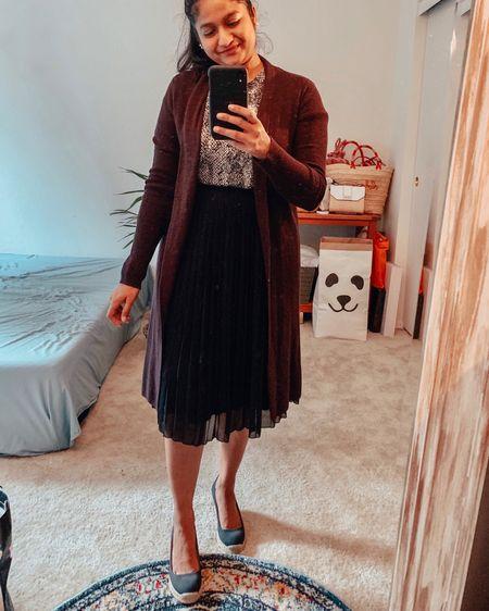 http://liketk.it/2EFkz #liketkit @liketoknow.it #LTKunder50 #LTKworkwear #LTKstyletip #LTKsalealert business casuals, office outfits, teacher outfits, fall outfits. Cardigan, pleated skirt