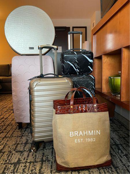 Large hat box, carry on luggage, and black marble luggage's.   #LTKtravel #LTKunder100 #LTKfamily