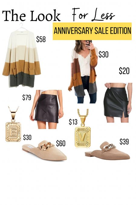 Nordstrom anniversary sale dupes  **use code CORTNEY15 to get a discount on the Kell Parker mules.               Amazon dupe  Amazon fashion  Amazon finds  Nsale  Fall outfits Chain mules  Leather skirt  Cardigan  Initial necklace   #LTKstyletip #LTKunder50 #LTKsalealert