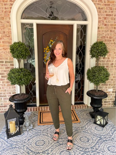 Dress up joggers for a casual evening! These faux topiaries are amazing for a covered front porch!   #LTKstyletip #LTKhome #LTKSeasonal