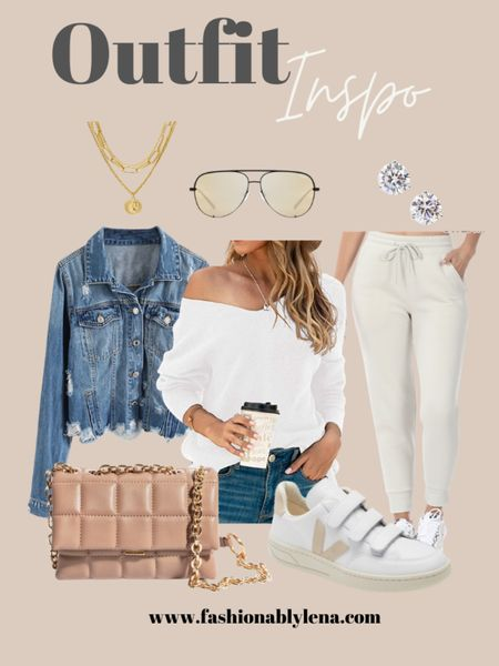 Spring finds, neutral joggers, spring sweater, white sweater, quilted bag, denim jacket, distressed jacket, veja sneakers, neutral sneakers, gold necklace, stud earrings   #LTKSeasonal #LTKstyletip #LTKunder100