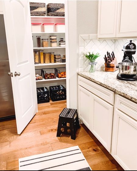 It's a  'clean the kitchen' and get ready for the week kind of Sunday!   What are you up to today?         Amazon home, ruggable, washable rugs, amazon finds, pantry organization, pantry storage, kitchen pantry, kitchen decor, area rugs  #LTKfamily #LTKhome #LTKstyletip