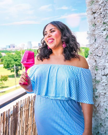 Happy 4th of July! Loving this blue gingham maxi dress paired with Estelle's colored glass i. Magenta. Dress is true to size. http://liketk.it/3iZGE #liketkit @liketoknow.it #LTKcurves