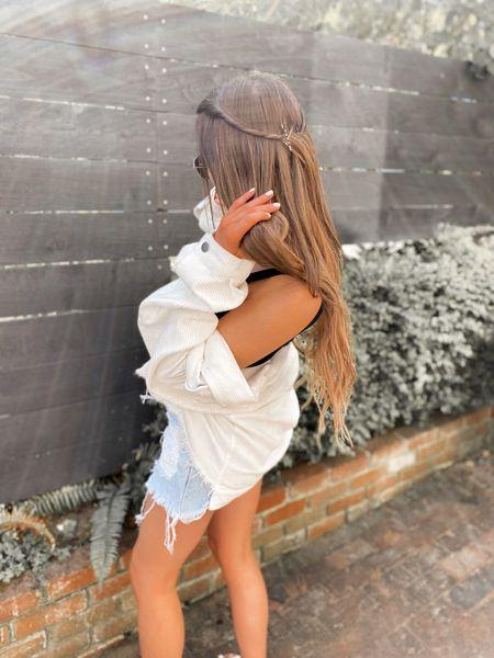 Sunny summer weekends I love you 🤍  Wearing @shop12thtribe corduroy jacket + vintage Levis thrasher shorts - code JUSTKELSCOSUMMERBABE gets you $$ off #tribebabe #12thtribevibes #shop12thtribe  #LTKunder100 #LTKunder50 #LTKstyletip
