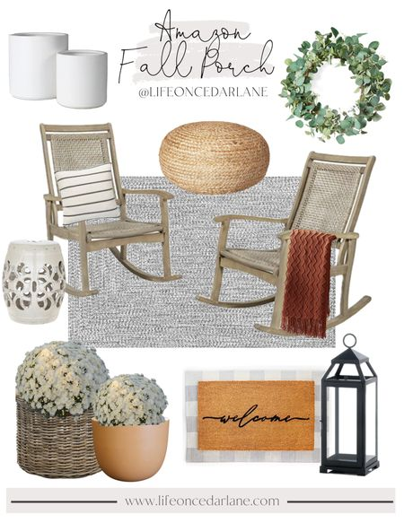 Amazon fall decor for your front porch!! I am in love with these rocking chairs! Also tried to find some more planter options for you guys!!   #falldecor #frontporch #doormat  #LTKhome #LTKSale #LTKSeasonal