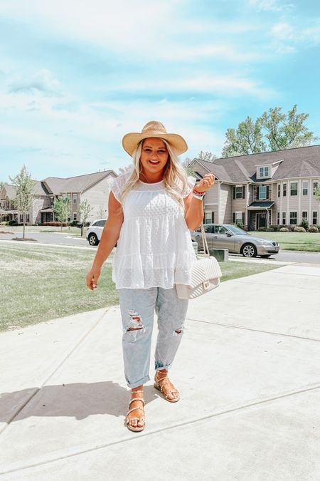 Summer outfit, vacation outfit, plus size, beach hat, boyfriend jeans, studded sandals, quilted purse http://liketk.it/3dhj1 #liketkit @liketoknow.it #LTKcurves #LTKunder100 #LTKsalealert