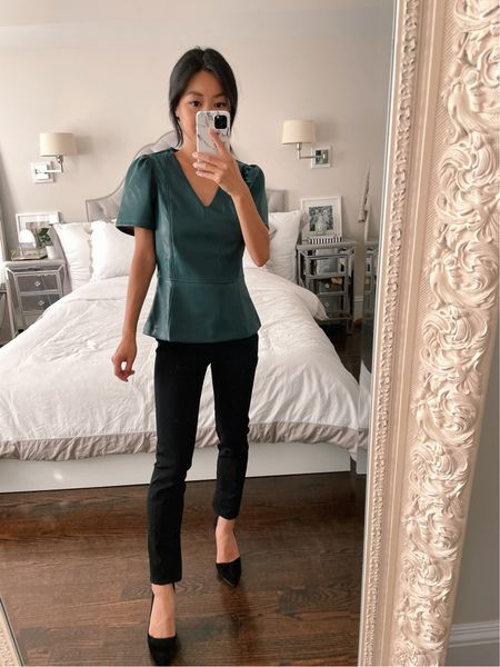 sale alert: 40% off at Ann Taylor with code ANNVIP with lots of fall work outfit ideas  •Faux leather peplum top with puffed sleeves and vneck size xxs petite (also comes in faux suede, but only regular sizing)  •Azra suede pumps size 5  #LTKSeasonal #LTKworkwear #LTKsalealert