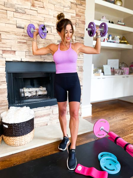 Workout tank in xs bike shorts in xs apl sneakers   #LTKunder50 #LTKfit #LTKunder100