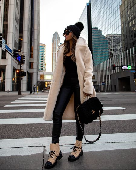 Casual fall outfit  Express shearling coat Express coated jeans  Chanel combat boots  #LTKSeasonal #LTKstyletip #LTKshoecrush