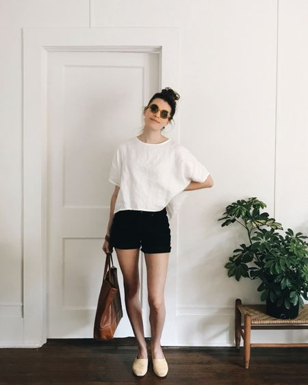 Bright marigold sunnies and woven straw flats giving new life to my had-'em-forever shorts, tee, and tote. Doesn't take much to bring new life to old pieces. http://liketk.it/2w0BN #liketkit @liketoknow.it #LTKshoecrush #LTKunder50 #LTKunder100 #LTKstyletip