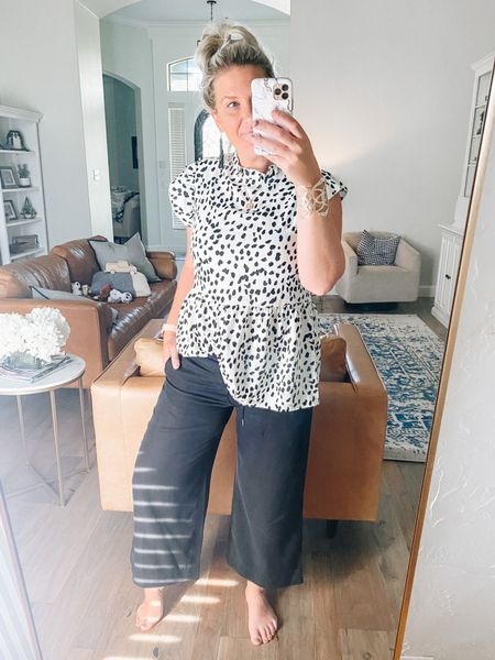 Loving these Loft wide leg cropped pants paired with this flutter sleeve top from Amazon! So many different options for these two staples!   #LTKunder50 #LTKsalealert #LTKworkwear