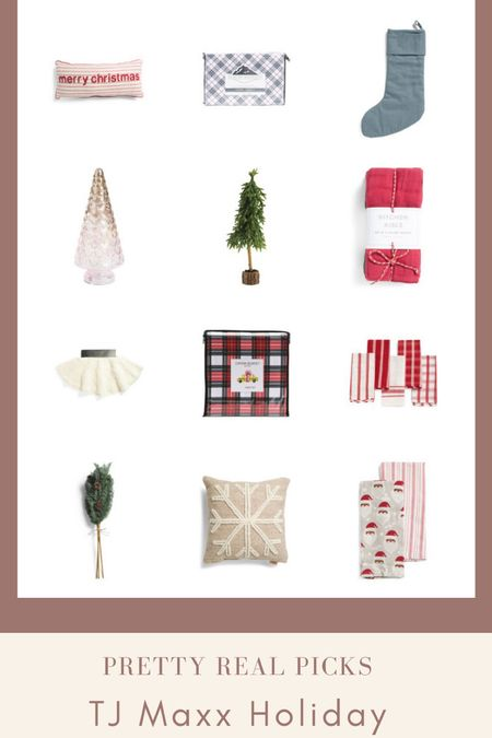 Great holiday decor finds from tj Maxx! Stockings, plaid Christmas sheets, faux Christmas stems, knit throw, Christmas throw pillows, neutral Christmas, tree skirt, and more! Holiday decor, tj Maxx finds   #LTKhome #LTKHoliday #LTKunder50