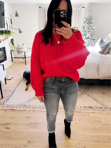 Sweater/size large. Jeans/size 10. Shoes/fit TTS.   #LTKshoecrush #LTKHoliday #LTKcurves