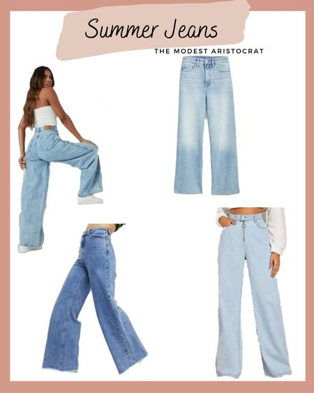 Jeans in summer!! Sounds crazy doesn't it but it's not, wearing wide leg jeans in summer is a classic modest spring staple. Imagine all the pretty white blouses you could wear with these jeans. @liketoknow.it #liketkit http://liketk.it/3b9NL