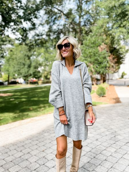 This super cozy sweater dress is from H&M! Loverly Grey is wearing an xs and has paired this with a knee boot    #LTKstyletip