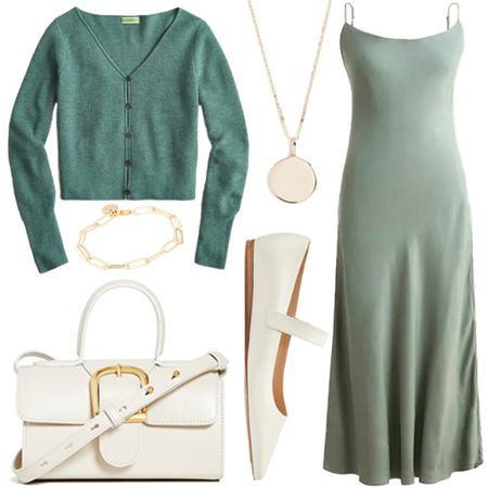 End of summer outfit inspiration . . . Sage green, green dress, slip dress, midi dress, satin dress, summer dress, cropped cardigan, cardigan, cropped sweater, cashmere, cashmere cardigan, white crossbody, Mary Jane shoes, Mary Janes, white shoes, gold coin necklace, gold pendant necklace   #LTKSeasonal #LTKstyletip