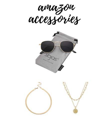 Amazon sunglasses and layered necklaces  #LTKunder50 #LTKstyletip #LTKbeauty