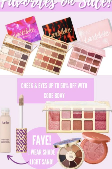 Some of my favorite products from Tarte cosmetics are on SALE! Up to 50% off with code bday! #tarte #makeup #cosmetics #shapetape #sale  #LTKHoliday #LTKunder50 #LTKsalealert