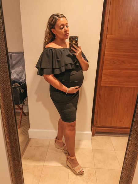 The best off-the-shoulder maternity dress! Loved this flounce top black dress for vacay and honestly any occasion. Would be great for Valentine's Day too! 💗💗 @liketoknow.it http://liketk.it/2JfNB #liketkit #LTKunder50 #LTKbump #LTKtravel