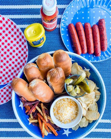 Hamburgers or hotdogs? Tonight we went for the hotdogs and I love pulling out my patriotic melamine to make dinner a little more festive! Shop my Amazon favorites at my @liketoknow.it link: http://liketk.it/3gqTK    #liketkit #LTKfamily #LTKunder50