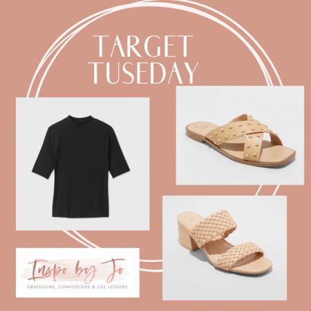 Target Tuesday is back!! Run -don't wait - these will be sold out! Love love love all three of these - the turtleneck is perfect for work and could be dressed up to be more formal. Both sandals will be gone so get them now - both are super cute and comfortable. http://liketk.it/3aCjG #liketkit @liketoknow.it #LTKSeasonal #ltktarget