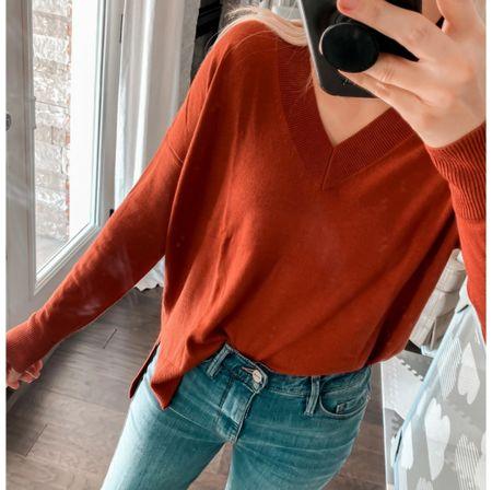 V-Neck Sweater, perfect jeans on sale, Madewell jeans      http://liketk.it/3nTUy @liketoknow.it #liketkit  #LTKstyletip #LTKunder100 #LTKSale #LTKsalealert