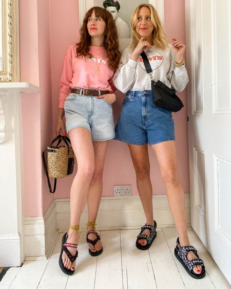 @liketoknow.it #liketkit http://liketk.it/3dWZU Very Spring edit- Levi shorts, chunky sad sandals, floral midi skirt