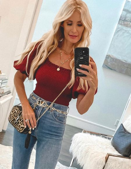 SALE ALERT! In love with this under $50 top - it runs tts I'm wearing an Xs! My jeans are also on sale and true to size.    #LTKsalealert #LTKunder50 #LTKunder100