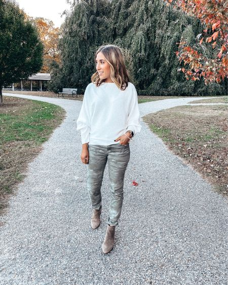 Today's OOTD on this gorgeous fall day! Camo pants are 40% off right now, no code needed - bringing them to under $50. Sweater is so comfy cozy and can also be worn off the shoulder. Oh yeah and it's under $30 💁🏻♀️  Shop all my looks in the LIKEtoKNOW.it app! Simply download the app, give me a follow or screenshot one of my IG pictures to shop! http://liketk.it/2G9bj #liketkit @liketoknow.it