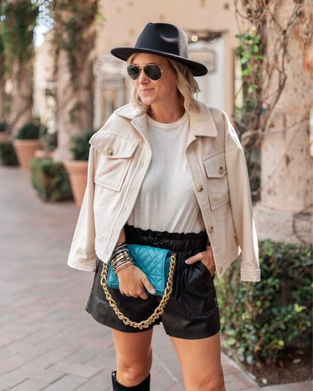 """Third year with these super affordable faux leather shorts - they're my favorite for our SoCal """"fall"""" 😍   #LTKunder50 #LTKSeasonal"""
