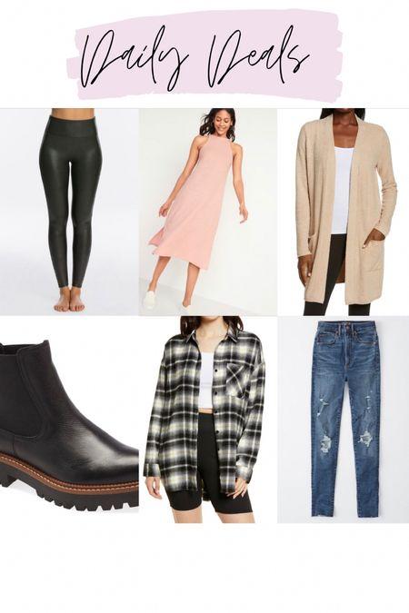 Spanx faux leather leggings / pink tank dress / barefoot dreams cardigan restocked / NSale weatherproof booties / NSale flannel / abercrombie jeans   #LTKsalealert #LTKstyletip #LTKunder100