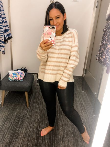 Madewell stripe sweater and Spanx faux leather leggings. Leggings run small. Size up 1 size. Madewell sweater runs tts. It's a little longer in back. Sweater is perfect with jeans or leggings because it covers the bum in the back. #madewell #madewellsweater #falloutfit #fallstyle   #LTKunder50