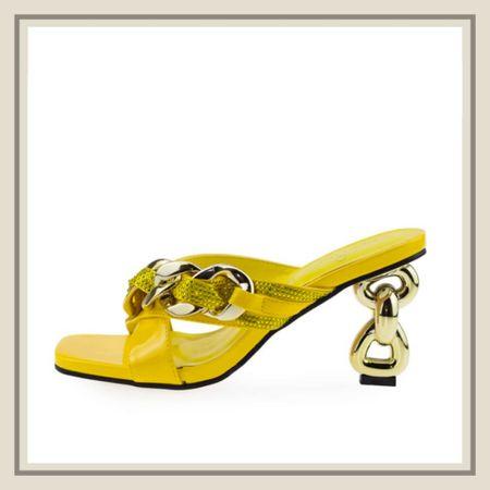 Chain and rhinestone sculptured heel sandals   #LTKstyletip #LTKshoecrush #LTKunder50