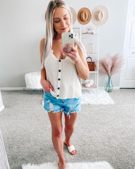 Tank: Small Shorts: Small Sandals: tts . . .  http://liketk.it/3h1FA #liketkit @liketoknow.it #LTKsalealert #LTKstyletip #LTKunder50 Tank top, denim shorts, sandals, summer outfits, shorts, sunglasses