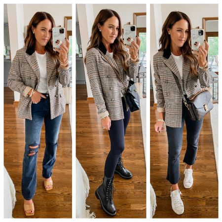 Plaid blazer 3 ways. Trendy Fall style ideas. Black velvet lapel detail.  Under $50 XS blazer