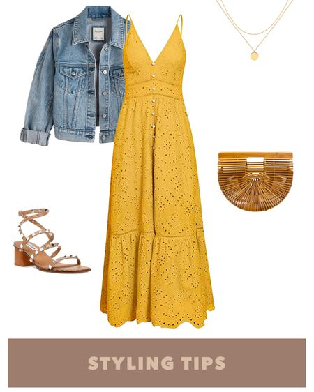 a maxi dress paired with a denim jacket,  straw bag, studded sandals, and layered necklace makes a cute date night or spring outfit. Shop my daily looks by following me on the LIKEtoKNOW.it shopping app http://liketk.it/38Enu #liketkit @liketoknow.it l #LTKcurves #LTKsalealert #LTKstyletip #LTKtravel #LTKunder50 #LTKshoecrush #LTKitbag #LTKunder100 # #LTKSeasonal   Summer fashion   amazon fashion   amazon finds   amazon dress   amazon spring finds   date night outfits   wedding guest dresses   beach vacation   vacation outfits   maxi dress summer   sundress   summer dress   denim jacket outfit   bags under 50   bags under 100   sandals platform   dsw sandals   dsw sale   petite style   petite fashion