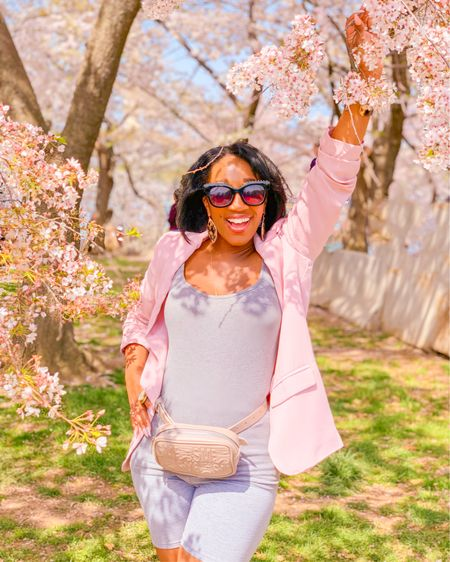 """Echoing the sentiments of an IG friend today: """"These days it's been less IG & more life!"""" - @mrslulu3 Ha Ha!🤣💕Love it!💕 Just like I'm loving DC & these beautiful #CherryBlossoms!🌸 I hope you caught all the blooms on my #DCcool Stories. Stay tuned for the rest of my """"real life"""" adventures all around #TheDMV as told thru my IG Stories!✨ 🔖I packed with lots of @sheinofficial including this biker shorts set & this perfectly cherry-blossom pink blazer! All the deets are always sourced on ShaundaNecole.com Biker 🚴🏽♀️shorts set: style 604592 Pink blazer: style 407362 Save with #Shein code MSKRIS1 #MeWithSheIn #SheInPartner . .  #liketkit @liketoknow.it   http://liketk.it/2B0Ok"""