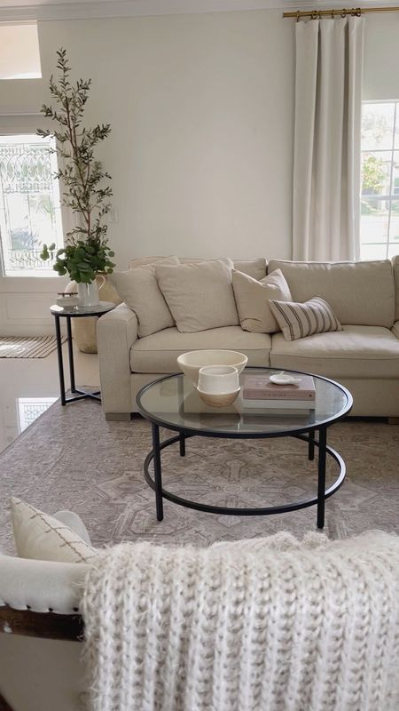 Styling my living room with Ruggable! This is the Hendesi Heriz cream, in 8x10. With a standard rug pad. Love the modern look of this space with the new rug, coffee table and accent table.   #LTKSeasonal #LTKhome #LTKsalealert