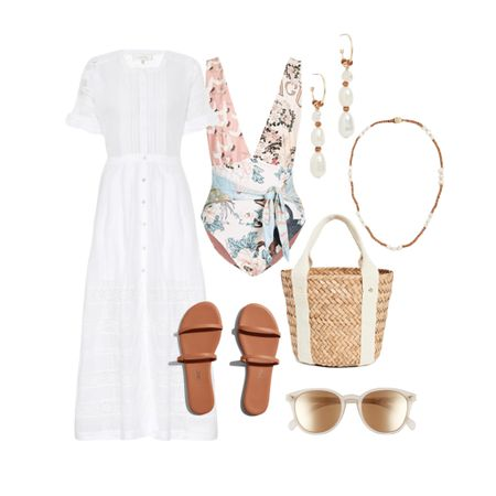 Vacation outfits, beach outfits. One piece swimsuit and extras for a resort vacation look    #LTKstyletip #LTKtravel #LTKswim