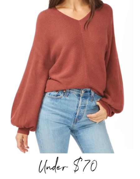 Ribbed Balloon Sleeve Cotton Blend Sweater, Fall Sweater, Fall Outfit, Madewell Jeans, Boots  #LTKshoecrush #LTKunder100 #LTKSeasonal