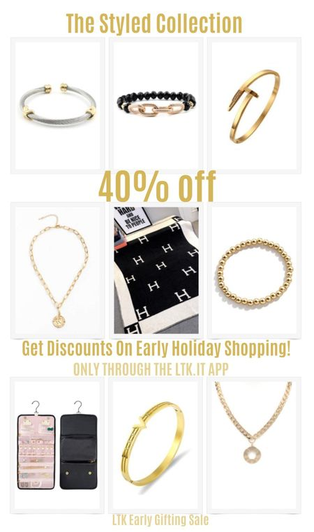 Get discounts on early holiday shopping with the LTK Early Gifting Sale! Get 40% off sitewide at The Styled Collection. Grab beautiful and trendy golden jewelry such as bracelets and necklaces. Cuff bracelet, arm candy, throw blanket, jewelry organizer, chain necklace.  #LTKDay #LTKSale #LTKunder100