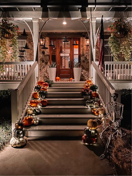 Halloween front porch decor. Fall pumpkins, fairy lights, witches hats, skeletons and more. 🎃   #LTKSeasonal #LTKhome #LTKHoliday
