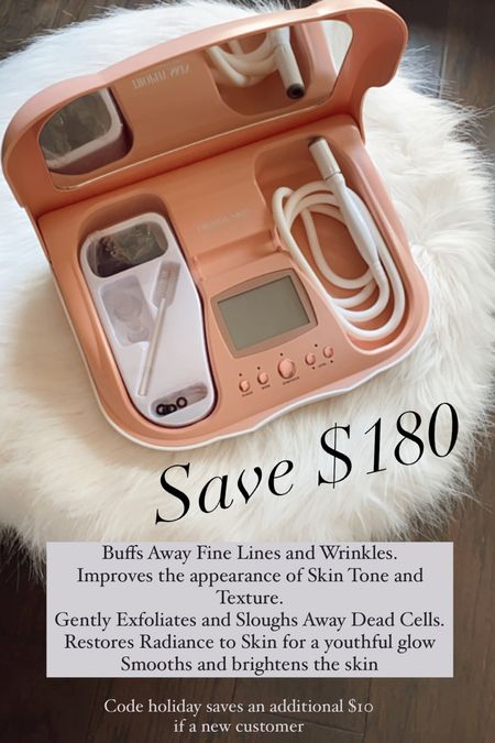 My favorite skincare tool..same results as in office it's incredible is on major sale  Reg $299 sale $119!!!  Code holiday saves you $10 if a new customer   * At-home results! -The MicrodermMD Sensitive Kit is a glow-getter designed using a high-tech combo of diamond exfoliation and suction to exfoliate the outer layers of skin. -MicrodermMD is one of the first at-home microdermabrasion machines using dual-action therapy with a combination of diamond-tipped exfoliation and suction, enabling you to have microdermabrasion treatments at home. -Buffs Away Fine Lines and Wrinkles. -Improves the appearance of Skin Tone and Texture. -Gently Exfoliates and Sloughs Away Dead Cells. -Restores Radiance to Skin for a youthful glow -Smooths and brightens the skin * Includes: * (1) MicrodermMD Microdermabrasion System * (1) Standard Diamond Tip * (1) Pore Extracting Tip * (1) Infusion Tip * (100) count wool flters * (1) Power Adapter   #LTKSale #LTKbeauty #LTKsalealert