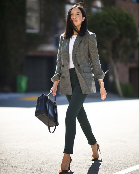 Blazer and jeans kind of day! Love the color of these jeans: a deep green. True to size!  #LTKworkwear #LTKSeasonal #LTKstyletip