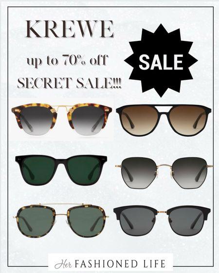 Krewe Secret Sale! Up to 70% off!! Eyewear, Sunglasses, Her Fashioned Life  #LTKsalealert #LTKstyletip