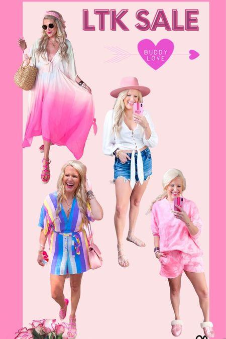 Buddy love dress size large  buddy love white Estelle top size large  $15 shorts run large size down  Lack of color pink hat Tie dye lounge set size L Rainbow romper size L Pink studded sandals TTS  Pink studded wedges TTS  Pink quilted purse  All buddy love is 25% off code LTK buddy http://liketk.it/3hn1W #liketkit @liketoknow.it #LTKDay #LTKsalealert #LTKunder50